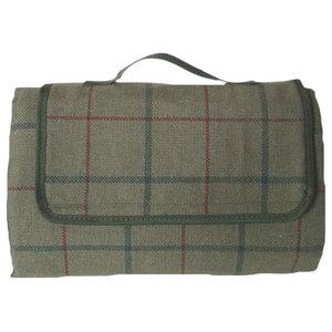 Luxury Green Tweed Picnic Blanket