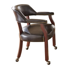 Steve Silver Co   Captains Chair With Casters  Brown   Dining ChairsChair With Caster   Houzz. Powell Hamilton Swivel Tilt Dining Chair On Casters. Home Design Ideas