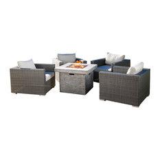 "5-Piece Soleil Outdoor Wicker Club Chair Set, Sunbrella Cushions, 32"" Fire Pit,"