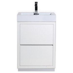 """Bliss 24"""" High Gloss White Free Standing Modern Bathroom Vanity"""