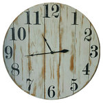 "Avery Street Design Co - The Shannon Farmhouse Wall Clock, 30"" - The Shannon farmhouse wall clock features vertical wood slats, a white distressed finish, hand painted black Arabic numerals, and antique style spade hands."