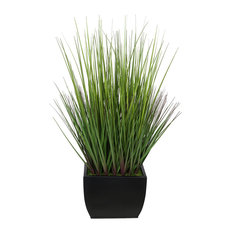 "Artificial 28"" Grass, Black Medium Rectangle Zinc"