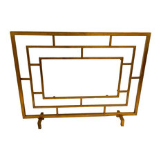 Fireplace Screen, Center Panel Glass, Antique Gold