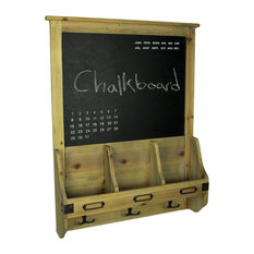 Rustic French Farmhouse Style Wooden Chalkboard Mail Center Organizer Key Rack