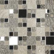 "Beige Metal Textured Glass Mosaic Kitchen Backsplash Tile, 12""x12"""
