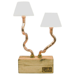 Wood Base Copper Pipe Table Lamp, 2 Bulbs