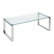 Cortesi Home - Remi Contemporary Glass Coffee Table with Chrome Finish - Coffee Tables
