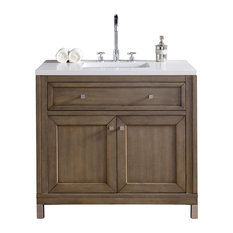 "Chicago 36"" White Washed Walnut Single Vanity, Snow White Quartz Top"