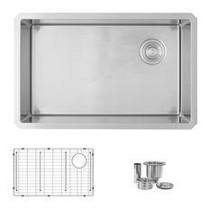 """BLUIC 28""""L Undermount Kitchen Sink Single Bowl with Grid and Strainer"""