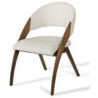 Modrest Lucas Modern Cream and Walnut Dining Chair