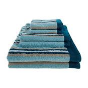 Decorative Striped 6-Piece Bath Towel Set, Seafoam