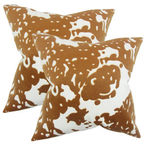 The Pillow Collection Nevaeh Geometric Pillow Red