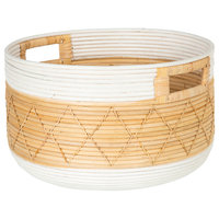 Round Coiled Rattan Storage Basket, Natural and White