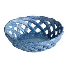 Intrecci Blue Round Bon Bon Basket