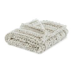 "Jamilah Channel Knit Throw, Cream White, 50""x70"""