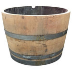LadyBagsSF - French Oak Wine Barrel Planter - This is a great french oak wine barrel planter from Sonoma CA that we have re-used and made into a planter. This is perfect for outdoor gardening and even just for a decoration. This is a sample and not in perfect condition and has some holes in the bottom for drainage.