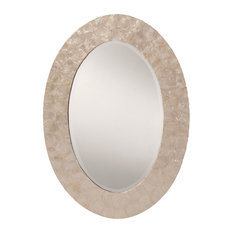 Rio Beveled Wall Mirror With White Mother of Pearl Oval Frame
