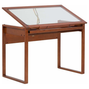 Contemporary Table, Solid Walnut Wood With Tempered Glass, Storage Drawer