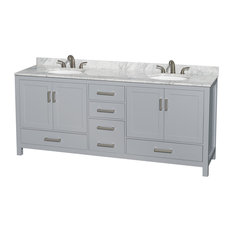 "Sheffield 80"" Double Vanity, Gray, Carrera Marble Top, Undermount Oval Sinks"