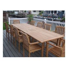 "108"" Buckingham Double Leaf Extension Table, 10 Arm Chairs, Grade A Teak"