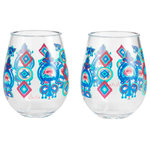 """Enesco - """"Flying Carpet"""" Set of 2 Acrylic Stemless Wine Glass by Lolita - This stemless acrylic wine glass captures the spirit of the oriental lore that is the flying carpet. Inspired by the colors of the legendary woven wonders, you don't need to be the Queen of Sheba to enjoy the magic of this byzantine glass."""