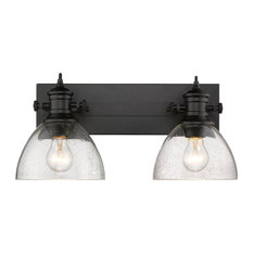 Hines 2-Light Bath Vanity, Black With Seeded Glass
