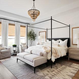 オースティンの広いトランジショナルスタイルのおしゃれな主寝室 (白い壁、淡色無垢フローリング、グレーの床、折り上げ天井) のレイアウト