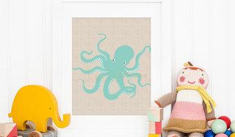 Teal Blue Octopus, Nautical Nursery Print