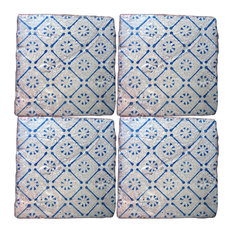 Repro Spot Majolica Tiles, Set of 4