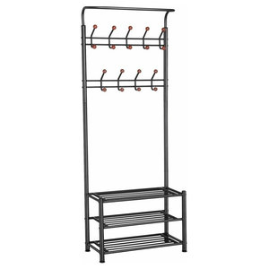 Contemporary Clothes Stand, Metal With 3 Open Shelves and 18 Hanger Hooks, Black