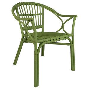 Ewagu Green Rattan Armchairs, Set of 2