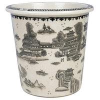 """Black and White Round Porcelain Landscape Motif Pot 10"""""""