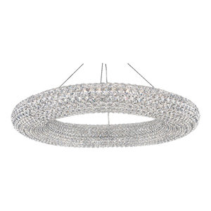 Cassini 28-Light Pendant in Stainless Steel With Clear Spectra Crystal
