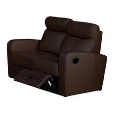 Leather Match Loveseat With Two Recliners, Brown