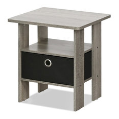 End Table Bedroom Night Stand With Bin Drawer French Oak Gray/Black