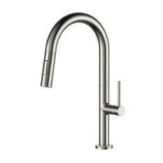 Fine Fixtures Pull Down Single Handle Kitchen Faucet, Satin Nickel
