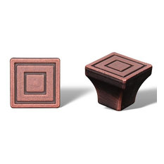 Distressed Copper RKI Small Contemporary Square Knob, RKICK771DC