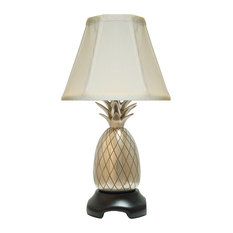 Eurocraft Home Decor   Pineapple Accent Lamp, Pewter With Off White Shade    Table
