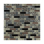 "12""x12"" Metal Stone Glass Mosaic Kitchen Backsplash Bathroom Tile, Single Sheet"