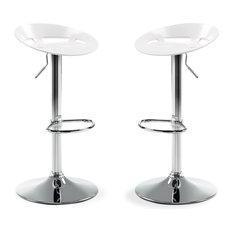 Drawer - Lot de 2 tabourets de bar design Plato Couleur Blanc - Chaise et Tabouret de Bar