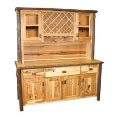 Large Real Hickory Log Buffet And Hutch With Wine Rack 75-inch Espresso