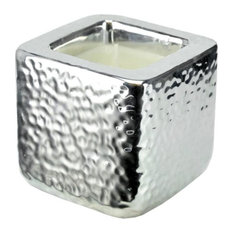 Vela en cubo de cerámica plateado 8 x 8 cm