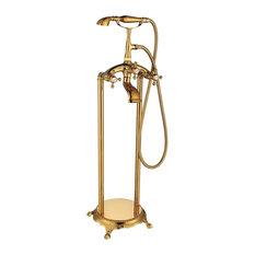 "ADM Freestanding Tub Filler Handheld Shower Spray, Titanium Gold, 59"" Hose"