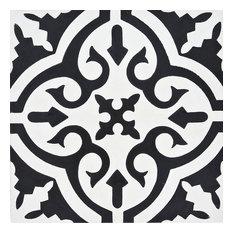 """8""""x8"""" Argana Handmade Cement Tile,White/Black , Set of 12"""