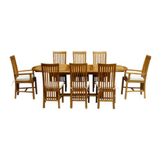 9-Piece Oval Teak Wood Balero Table/Chair Set With Cushions