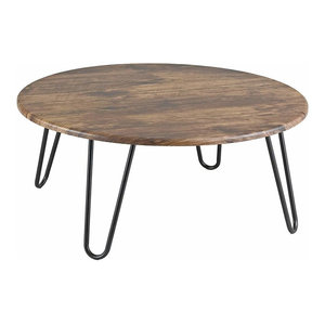Modern Round Coffee Table with Hairpin Steel Legs and MDF Top