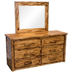 Midwest Farmhouse - Torched Farmhouse 6-Drawer Dresser With Mirror - Our Torched Farmhouse collection is built from, dried, hand selected rough cut lumber and handcrafted to create a unique look of reclaimed farmhouse style. Our Torched Farmhouse collection is made from 100% solid wood and finished with our custom stain and finished to create functional furniture that looks great in rustic and urban settings.