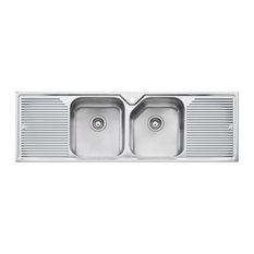 oliveri nu petite double bowl inset sink with double drainer lh bowl - Kitchen Sinks Sydney