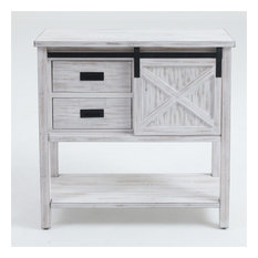 White Wood Sliding Door Console Table