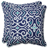 """Out/Indoor New Damask 18.5"""" Throw Pillow, Set of 2, Marine"""